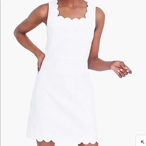 NWT J.Crew Factory White Scallop-Edge Dress